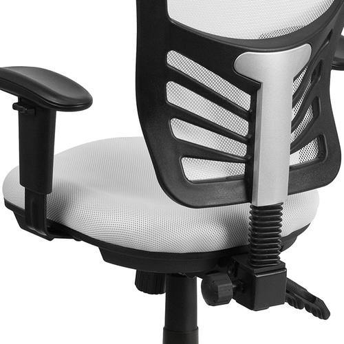 Flash Furniture - Mid-Back White Mesh Multifunction Executive Swivel Ergonomic Office Chair with Adjustable Arms