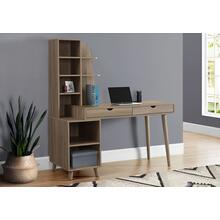 "COMPUTER DESK - 55""L / DARK TAUPE WITH BOOKCASE"