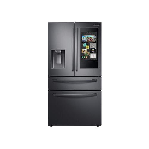 """Samsung - 22 cu. ft. 4-Door French Door, Counter Depth Refrigerator with 21.5"""" Touch Screen Family Hub™ in Black Stainless Steel"""