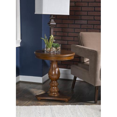 Pedestal and Triangular Base Accent Side Table, Hazelnut
