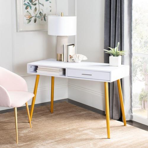 Jorja 1 Drawer 1 Shelf Desk - White / Gold