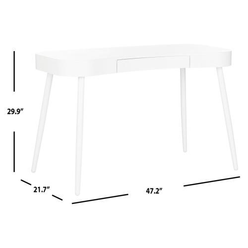 Product Image - Madan Mid Century Scandinavian One Drawer Desk - White