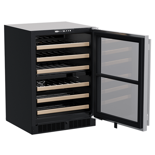 Marvel - 24-In Built-In High-Efficiency Dual Zone Wine Refrigerator with Door Style - Stainless Steel Frame Glass