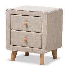 Baxton Studio Jonesy Mid-Century Beige Linen Upholstered 2-Drawer Nightstand