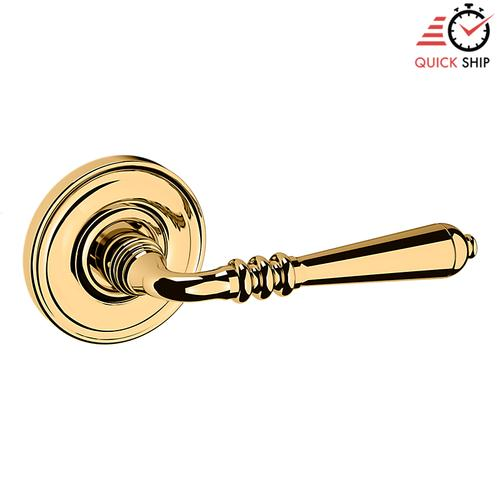 Baldwin - Non-Lacquered Brass 5107 Estate Lever with 5048 Rose