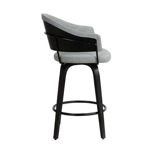 "Doral 30"" Light Gray Velvet Barstool in Black Powder Coated Finish with Chrome and Black Brushed Wood"