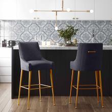 View Product - Beatrix Pleated Dark Grey Velvet Counter Stool