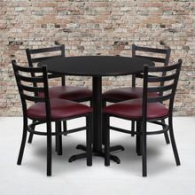 Product Image - 36'' Round Black Laminate Table Set with X-Base and 4 Ladder Back Metal Chairs - Burgundy Vinyl Seat