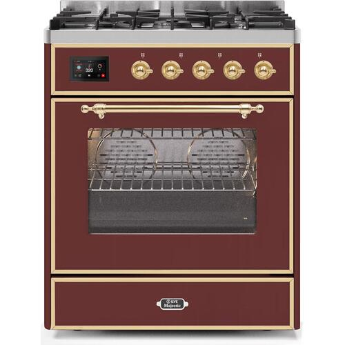 Ilve - Majestic II 30 Inch Dual Fuel Natural Gas Freestanding Range in Burgundy with Brass Trim