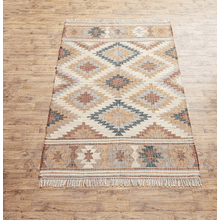 Hand Woven Rust & Natural 5' x 8' Tribal Rug