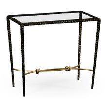 Bronze finish hammered iron rectangular side table