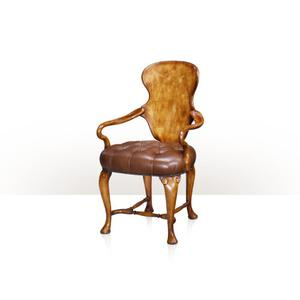 Theodore Alexander - Hourglass Shield Back Chair, Raw Umber - Button Upholstered