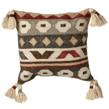 Grey & Rust Kilim Pillow with Tassels