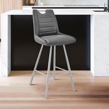 """See Details - Arizona 26"""" Counter Height Bar Stool in Charcoal Faux Leather and Brushed Stainless Steel Finish"""