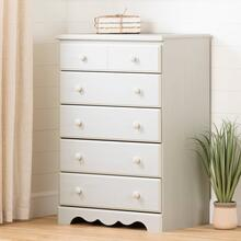5-Drawer Chest Dresser - White Wash