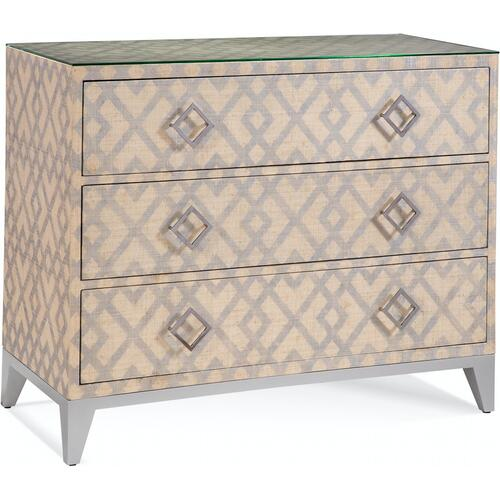 Clarendon Three Drawer Chest in Natural with Stencil