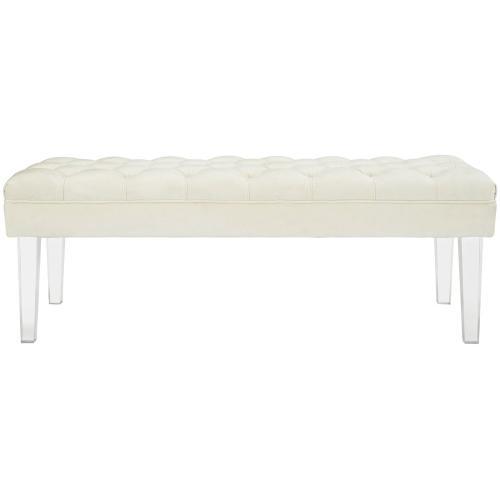 Valet Performance Velvet Bench in Ivory