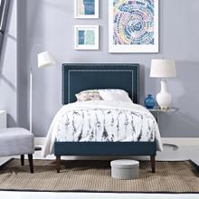 Virginia Twin Fabric Platform Bed with Squared Tapered Legs in Azure