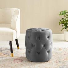 Amour Tufted Button Round Performance Velvet Ottoman in Gray