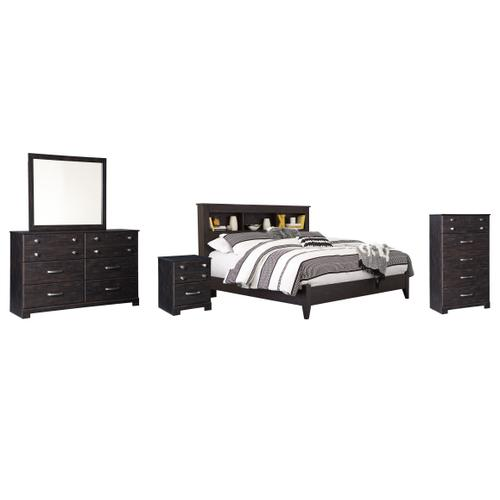 Ashley - King Bookcase Bed With Mirrored Dresser, Chest and Nightstand