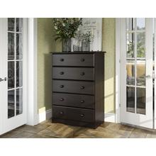 See Details - 53106 - 100% Solid Wood Five Drawer Chest - Java