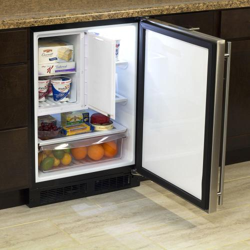 24-In Built-In Refrigerator Freezer With Maxstore Bin with Door Style - Stainless Steel, Door Swing - Right