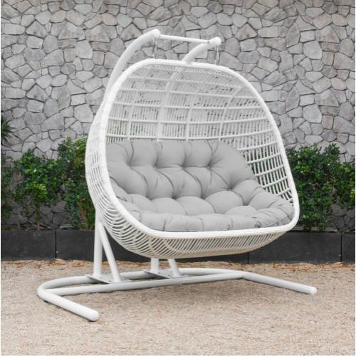 Renava San Juan Outdoor White & Beige Hanging Chair