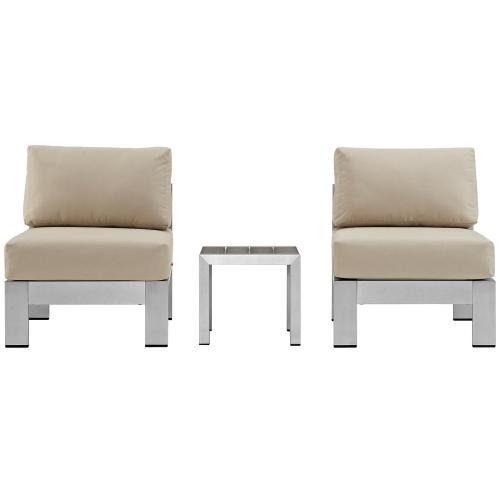 Modway - Shore 3 Piece Outdoor Patio Aluminum Sectional Sofa Set in Silver Beige
