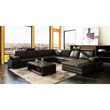 Divani Casa 3130 Modern Black Bonded Leather Sectional Sofa w/ Coffee Table