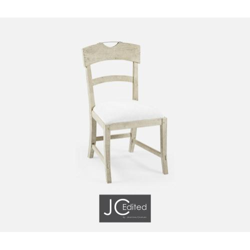 Planked Whitewash Driftwood Dining Side Chair, Upholstered in COM