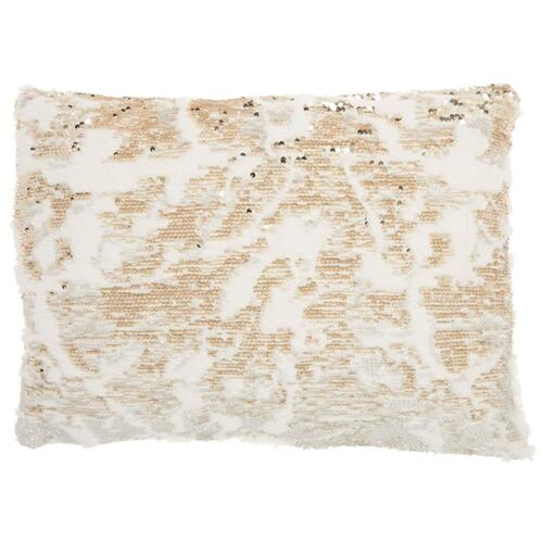 "Fur Vv201 Ivory Gold 14"" X 20"" Throw Pillow"