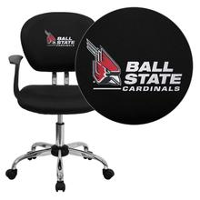 Ball State University Cardinals Embroidered Black Mesh Task Chair with Arms and Chrome Base