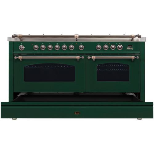 Nostalgie 60 Inch Dual Fuel Natural Gas Freestanding Range in Emerald Green with Bronze Trim