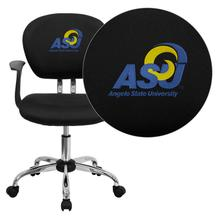 Angelo State University Rams Embroidered Black Mesh Task Chair with Arms and Chrome Base