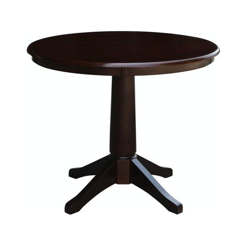 "36"" Pedestal Table in Rich Mocha"