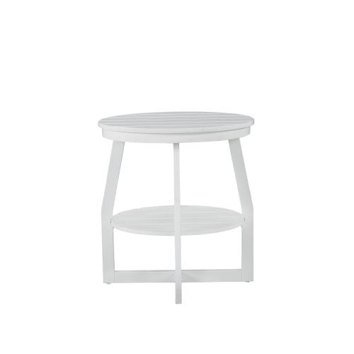 Oval Lower Shelf Accent Table, White