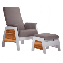 Urban style glider with thin seatback and curved armrests.