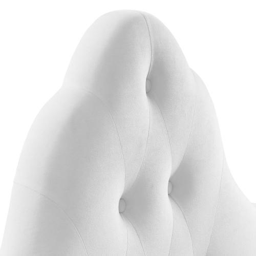Sovereign Twin Diamond Tufted Performance Velvet Headboard in White