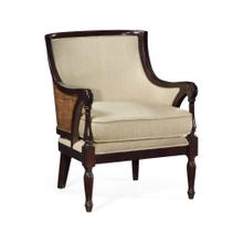 Curved Rattan Back Occasional Chair, Upholstered in MAZO