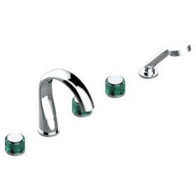 "Roman tub set with 2 x 3/4"" valves and rim mounted ceramic mixer with progressive cartridge and handshower"