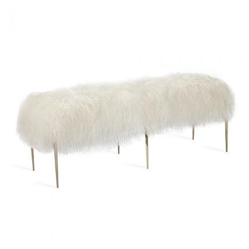 Stiletto Bench - Ivory Sheepskin