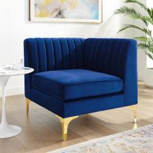 Triumph Channel Tufted Performance Velvet Sectional Sofa Corner Chair in Navy