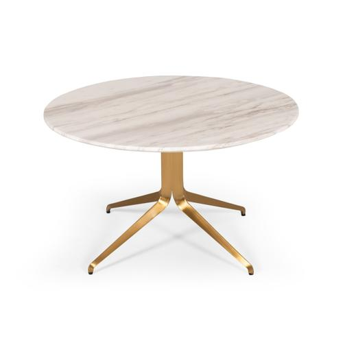 Modrest Surrey Modern White Marble & Bronze Round Coffee Table