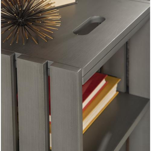 2 Open Shelves Storage Side Table, Grey