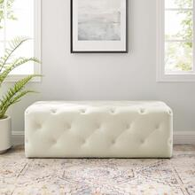 "Amour 48"" Tufted Button Entryway Performance Velvet Bench in Ivory"