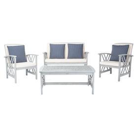 Fontana 4 PC Outdoor Set - Grey / Beige / Navy & White