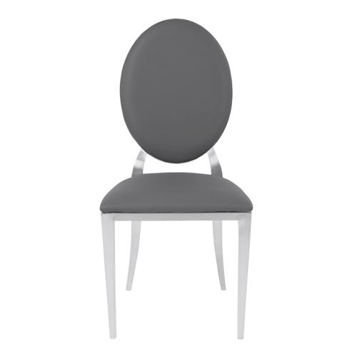 Armen Living - Armen Living Cielo Contemporary Dining Chair in Gray Faux Leather with Brushed Stainless Steel Finish - Set of 2