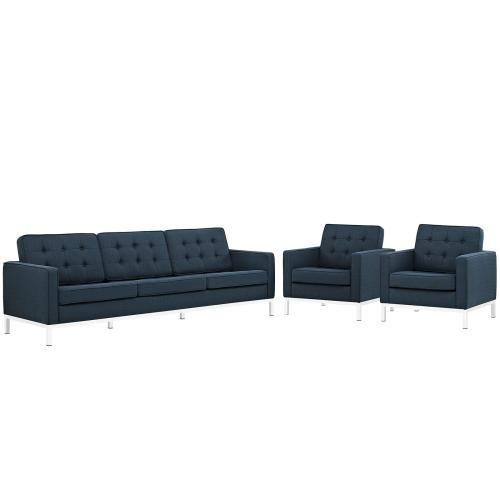 Loft 3 Piece Upholstered Fabric Sofa and Armchair Set in Azure