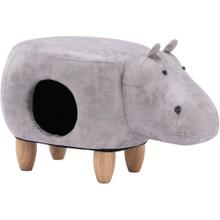 See Details - Critter Sitters 16-In. Seat Height Gray Hippo Animal Shape Pet House Ottoman - Furniture for Nursery, Bedroom, Playroom, Living Room Decor, CSHIPPET-LTGRY