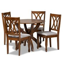 See Details - Baxton Studio April Modern and Contemporary Grey Fabric Upholstered and Walnut Brown Finished Wood 5-Piece Dining Set